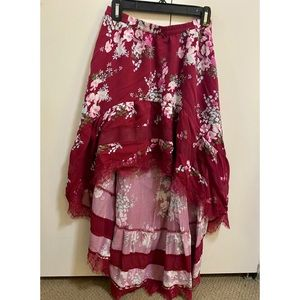 Express Pink High Low Skirt with Floral Print